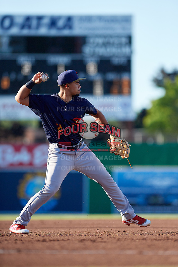 State College Spikes third baseman Stanley Espinal (21) throws to first base during a game against the Batavia Muckdogs on July 7, 2018 at Dwyer Stadium in Batavia, New York.  State College defeated Batavia 7-4.  (Mike Janes/Four Seam Images)