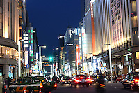 Mitsukoshi Department Store (right) in the up-market shopping district,  Ginza, Tokyo, Japan.<br /> April-2014