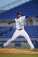 Dunedin Blue Jays pitcher Jimmy Cordero (19) delivers a pitch during a game against the Brevard County Manatees on April 23, 2015 at Florida Auto Exchange Stadium in Dunedin, Florida.  Brevard County defeated Dunedin 10-6.  (Mike Janes/Four Seam Images)