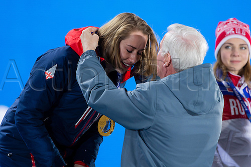 15.02.2014 Sochi, Krasnodar Krai, Russia.   A tearful Lizzy YARNOLD (GBR) receives her Gold medal during the Medal Ceremony for the Women's Skeleton at the Sochi Medals Plaza, Coastal Cluster - XXII Olympic Winter Games