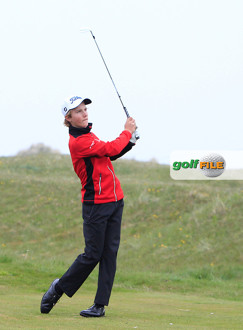 Rasmus Neergaard-Petersen (DEN) on the 4th tee during Round 3 of the Flogas Irish Amateur Open Championship at Royal Dublin on Saturday 7th May 2016.<br /> Picture:  Thos Caffrey / www.golffile.ie