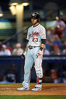 New Britain Rock Cats first baseman Will Swanner (23) at bat during a game against the Reading Fightin Phils on August 7, 2015 at FirstEnergy Stadium in Reading, Pennsylvania.  Reading defeated New Britain 4-3 in ten innings.  (Mike Janes/Four Seam Images)