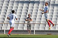Harvey Barnes celebrates scoring England's opening goal during England Under-18 vs Scotland Under-20, Toulon Tournament Semi-Final Football at Stade Parsemain on 8th June 2017