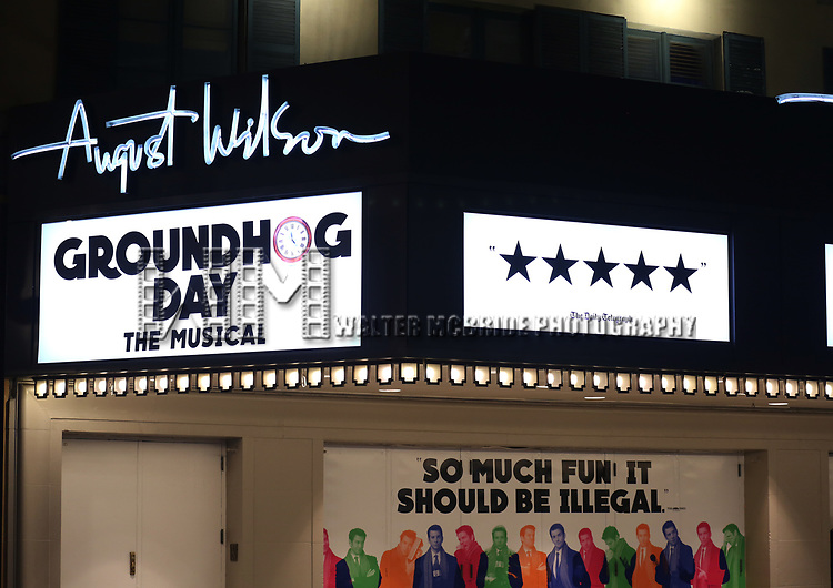 Theatre Marquee for the Broadway Opening Night  for 'Groundhog Day' at August Wilson Theatre on April 17, 2017 in New York City.