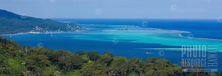 View of Raiatea and surrounding reefs in the background from Tahaa island