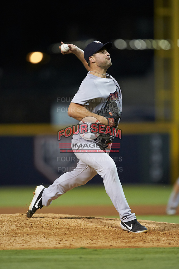 Scranton/Wilkes-Barre RailRiders relief pitcher Tyler Lyons (25) in action against the Gwinnett Stripers at BB&T BallPark on August 16, 2019 in Lawrenceville, Georgia. The Stripers defeated the RailRiders 5-2. (Brian Westerholt/Four Seam Images)