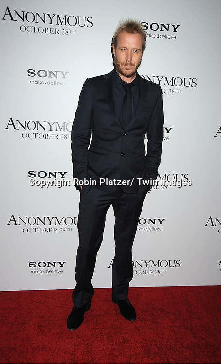 "actor Rhys Ifans attends the New York Special Screening of "" Anonymous"" ..on October 20, 2011 at The Museum of Modern Art in New York City."