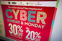 Email from the Gap announces their Cybermonday sales, seen on Sunday, November 27, 2011. On the first workday after Black Friday many retailers are offering specials online hoping that employees will shop from their desks. (© Richard B. Levine)