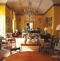 The Yellow Room in Nancy Lancaster's former home in Brook Street, London, once the headquarters of Colefax & Fowler