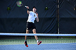 WINSTON SALEM, NC - MAY 22: Alan Gadijev of the Wake Forest Demon Deacons hits a forehand against the Ohio State Buckeyes during the Division I Men's Tennis Championship held at the Wake Forest Tennis Center on the Wake Forest University campus on May 22, 2018 in Winston Salem, North Carolina. (Photo by Jamie Schwaberow/NCAA Photos via Getty Images)