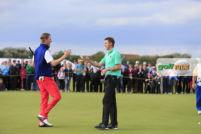 Jordan Niebrugge (USA), Ashley Chesters (ENG) on the 17th during the afternoon singles for the Walker cup Royal Lytham St Annes, Lytham St Annes, Lancashire, England. 13/09/2015<br /> Picture Golffile | Fran Caffrey<br /> <br /> <br /> All photo usage must carry mandatory copyright credit (&copy; Golffile | Fran Caffrey)