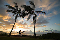 Young woman relaxing in hammock at sunset under palm trees in front of ocean, Alii Beach Park, Haleiwa, North shore of Oahu, Hawaii