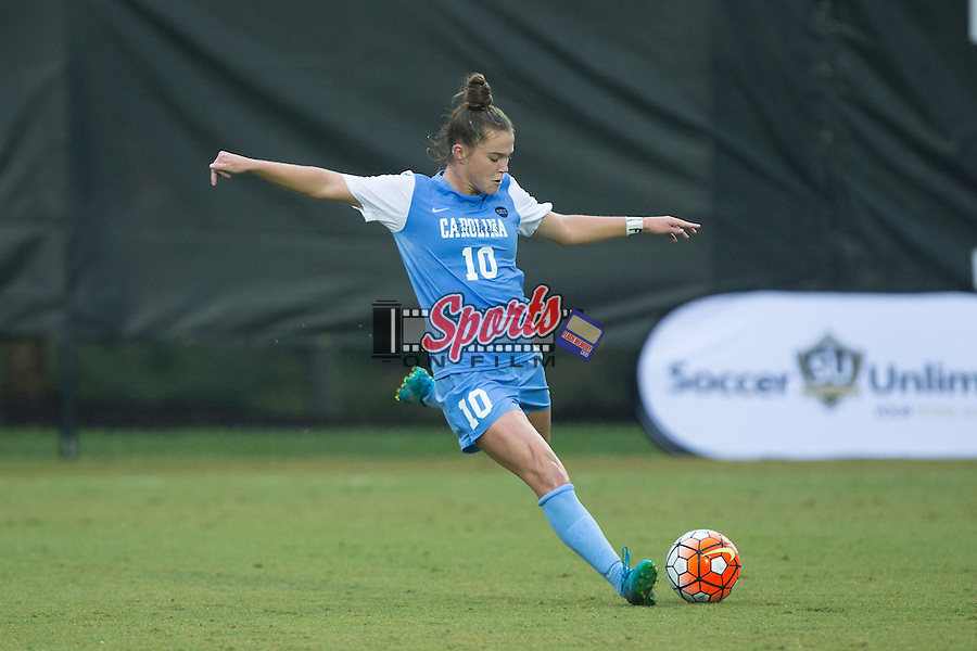 Joanna Boyles (10) of the North Carolina Tar Heels prepares to kick the ball during first half action against the Wake Forest Demon Deacons at Spry Soccer Stadium on September 27, 2015 in Winston-Salem, North Carolina.  The Tar Heels defeated the Demon Deacons 1-0.  (Brian Westerholt/Sports On Film)