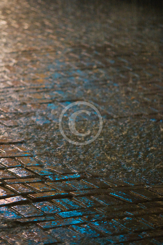 Belgium, Brussels, Cobblestone street in rain
