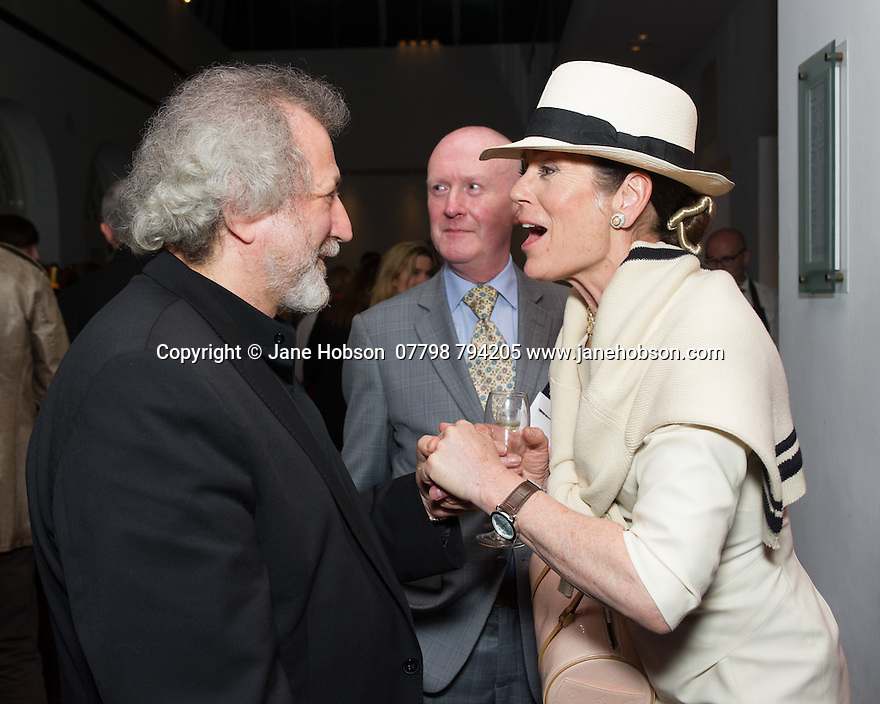 London, UK. 15.04.2014. Eifman Ballet after-party on press night for the opening of Rodin, Sky Bar, London Coliseum. Pictured: Boris Eifman and Lorraine Chase. Photograph © Jane Hobson.