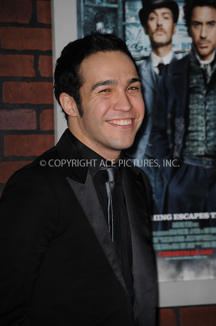 WWW.ACEPIXS.COM . . . . . ....December 17 2009, New York City....Musician Pete Wentz arriving at the New York premiere of 'Sherlock Holmes' at the Alice Tully Hall, Lincoln Center on December 17, 2009 in New York City.....Please byline: KRISTIN CALLAHAN - ACEPIXS.COM.. . . . . . ..Ace Pictures, Inc:  ..(212) 243-8787 or (646) 679 0430..e-mail: picturedesk@acepixs.com..web: http://www.acepixs.com