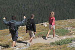 Hikers on the Flattop Mountain Trail in Rocky Mountain National Park, west of Estes Park, Colorado.