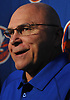 Barry Trotz, New York Islanders head coach, jokes about struggling to remember the names of his new players as he speaks with reporters during the organization's Media Day at Northwell Health Ice Center in East Meadow on Thursday, Sept. 13, 2018.