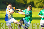Max Thiemann, Colaiste na Sceilige challenges his Macroom opponent in Killarney on Wednesday