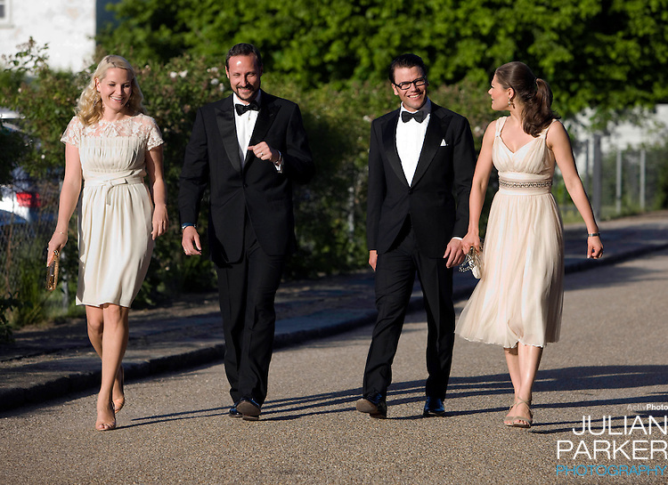 Crown Prince Haakon, and Crown Princess Mette Marit of Norway, and Crown Princess Victoria of Sweden with her boyfriend Daniel Westling arrive for a Dinner Party at Fredensborg Palace, in Denmark, to celebrate Crown Prince Frederiks 40th Birthday. Crown Prince Frederik turned 40 on May 26th