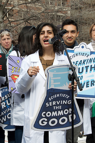 Maryam Zaringhalem, Ph.D, Molecular Biologist at Rockefeller University, host of Science Soapbox Podcast ( Iranian daughter of immigrants) speaking at Stand up for Science Rally at Copley Square Boston 2.19.17