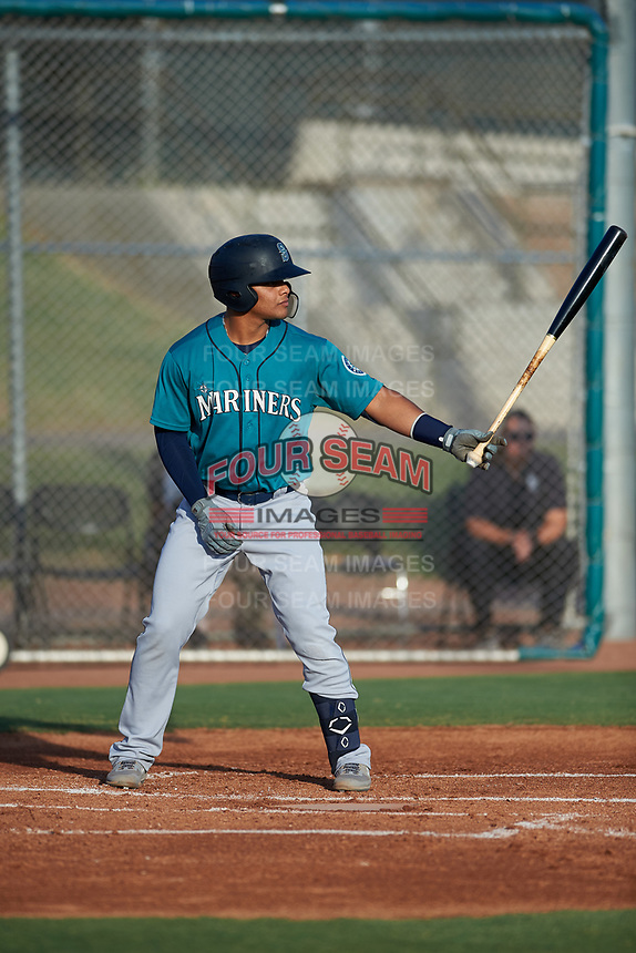 AZL Mariners Freuddy Batista (19) at bat during an Arizona League game against the AZL Giants Orange on July 18, 2019 at the Giants Baseball Complex in Scottsdale, Arizona. The AZL Giants Orange defeated the AZL Mariners 7-4. (Zachary Lucy/Four Seam Images)