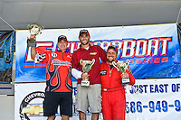 8-10 August 2008  Algonac, MI USA.F2 Podium (L to R): Donnie Lick (2nd), Shaun Torrente (1st) and Mark Profitt (3rd)..©F.Peirce Williams 2008