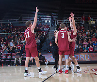 STANFORD, CA - March 2, 2019: Eli Wopat, Paul Bischoff, Kyler Presho, Kyle Dagostino at Maples Pavilion. The Stanford Cardinal defeated BYU 25-20, 25-20, 22-25, 25-21.