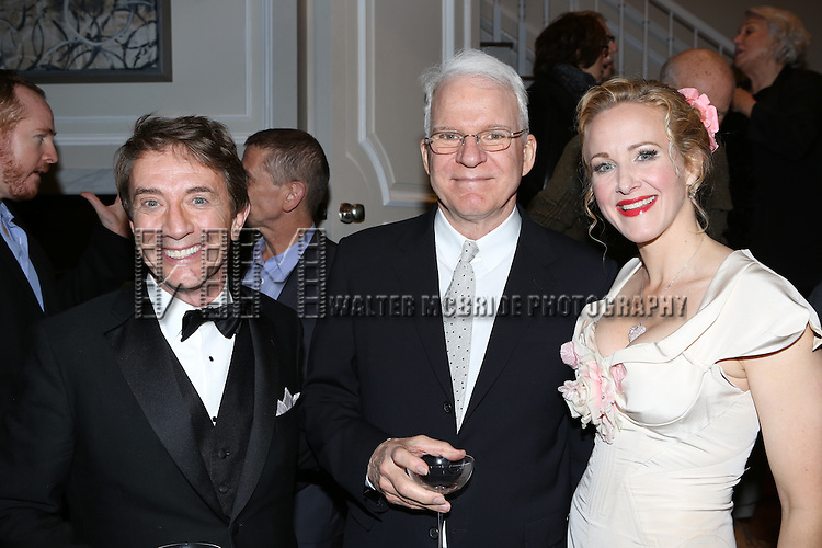 Martin Short, Steve Martin and Katie Finneran attend the re-opening night performance backstage reception for 'It's Only A Play' at the Bernard B. Jacobs Theatre on January 23, 2014 in New York City.