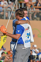 Corey Conners (CAN) hugs his caddie after winning the Valero Texas Open, at the TPC San Antonio Oaks Course, San Antonio, Texas, USA. 4/7/2019.<br /> Picture: Golffile | Ken Murray<br /> <br /> <br /> All photo usage must carry mandatory copyright credit (© Golffile | Ken Murray)