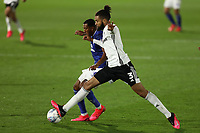 10th July 2020; Craven Cottage, London, England; English Championship Football, Fulham versus Cardiff City; Michael Hector of Fulham competes for the ball with Nathaniel Mendez-Laing of Cardiff City