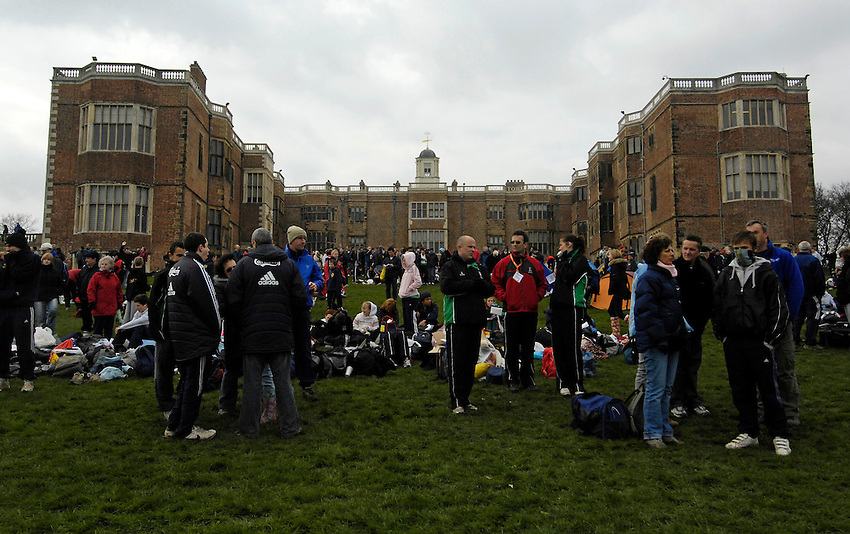 Photo: Jed Wee/Richard Lane Photography..Sainsbury's English Schools Cross Country. 24/03/2007...Spectators and participants look on before the event at Temple Newsam in Leeds.