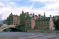 Edinburgh: Looking SE from New City to Old--Waverly Bridge to left. Photo '87.