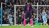 Ilkay Gundogan of Manchester City scores his goal during the UEFA Champions League match between Manchester City and Barcelona at the Etihad Stadium, Manchester, England on 1 November 2016. Photo by Andy Rowland / PRiME Media Images.