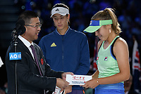 January 1, 2020: 14th seed SOFIA KENIN (USA) receives the winners prize after defeating GARBIÑE MUGURUZA (ESP) on Rod Laver Arena in the Women's Singles Final match on day 13 of the Australian Open 2020 in Melbourne, Australia. Photo Sydney Low. Kenin won 46 62 62