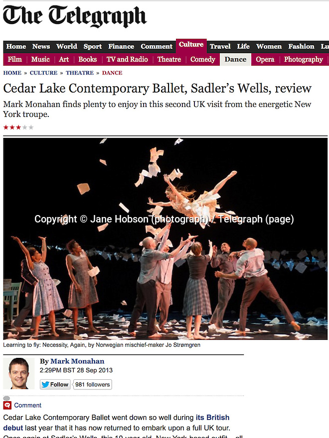 Cedar Lake Contemporary Ballet, Sadler's Wells, Telegraph 28.09.13