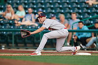 Peoria Chiefs first baseman Brady Whalen (7) stretches for a throw during a Midwest League game against the Fort Wayne TinCaps on July 17, 2019 at Parkview Field in Fort Wayne, Indiana.  Fort Wayne defeated Peoria 6-2.  (Mike Janes/Four Seam Images)