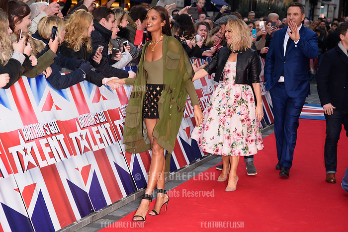 Alesha Dixon, Amanda Holden &amp; David Walliams at the London auditions for Britain's Got Talent 2018 at the London Palladium, London, UK. <br /> 28 January  2018<br /> Picture: Steve Vas/Featureflash/SilverHub 0208 004 5359 sales@silverhubmedia.com