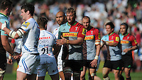 Chris Robshaw of Harlequins shakes hands with Dave Lewis of Exeter Chiefs during the Aviva Premiership match between Harlequins and Exeter Chiefs at The Twickenham Stoop on Saturday 7th May 2016 (Photo: Rob Munro/Stewart Communications)