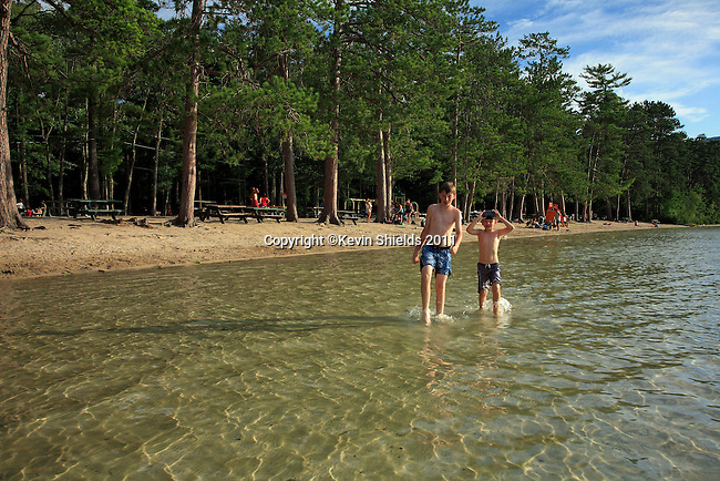 Two boys at the beach, White Lake State Park, Tamworth, New Hampshire, USA