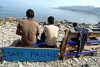 Lesbos / Greece 060416<br /> Migrants watching turkish coast from Mitilini.<br /> Photo Livio Senigalliesi