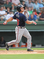Catcher Ryan Query (25) of the Rome Braves, an Atlanta Braves affiliate, in a game against the Greenville Drive on August 15, 2012, at Fluor Field at the West End in Greenville, South Carolina. Rome won, 6-1. (Tom Priddy/Four Seam Images)