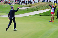 Justin Thomas (USA) celebrates sinking his long birdie putt on 14 during round 3 Four-Ball of the 2017 President's Cup, Liberty National Golf Club, Jersey City, New Jersey, USA. 9/30/2017.<br /> Picture: Golffile | Ken Murray<br /> <br /> All photo usage must carry mandatory copyright credit (&copy; Golffile | Ken Murray)