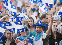 The Crowd wave Quebec flags during the St-Jean-Baptist show on the Plains of Abraham in Quebec city June 23, 2009.