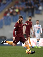 Roma&rsquo;s Daniele De Rossi kicks the ball during the Serie A soccer match between Roma and Napoli at the Olympic stadium, 4 March 2017.<br /> UPDATE IMAGES PRESS/Isabella Bonotto