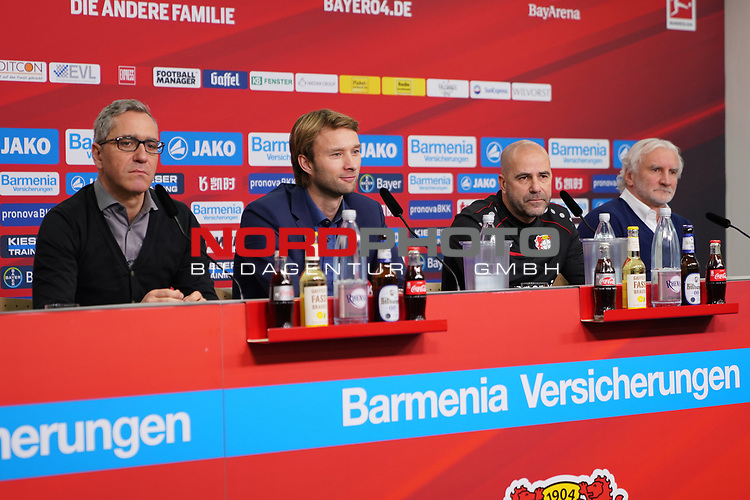 04.01.2019, BayArena, Leverkusen, GER, 1. FBL,  Bayer 04 Leverkusen PK Trainerwechsel,<br />  <br /> DFL regulations prohibit any use of photographs as image sequences and/or quasi-video<br /> <br /> im Bild / picture shows: <br /> erste Pressekonferenz von Peter Bosz Trainer / Headcoach (Bayer 04 Leverkusen), Dirk Mesch Pressesprecher (Bayer 04 Leverkusen),  SIMON ROLFES Direktor Sport (Bayer 04 Leverkusen),  re Rudi Völler/ Voeller Geschaeftsfuehrer Sport (Bayer 04 Leverkusen), <br /> <br /> Foto © nordphoto / Meuter