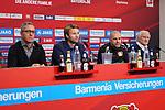 04.01.2019, BayArena, Leverkusen, GER, 1. FBL,  Bayer 04 Leverkusen PK Trainerwechsel,<br />  <br /> DFL regulations prohibit any use of photographs as image sequences and/or quasi-video<br /> <br /> im Bild / picture shows: <br /> erste Pressekonferenz von Peter Bosz Trainer / Headcoach (Bayer 04 Leverkusen), Dirk Mesch Pressesprecher (Bayer 04 Leverkusen),  SIMON ROLFES Direktor Sport (Bayer 04 Leverkusen),  re Rudi V&ouml;ller/ Voeller Geschaeftsfuehrer Sport (Bayer 04 Leverkusen), <br /> <br /> Foto &copy; nordphoto / Meuter