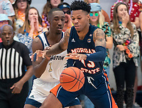 WASHINGTON, DC - NOVEMBER 16: Shawn Walker Jr. #1 of George Washington defends against Troy Baxter #13 of Morgan State during a game between Morgan State University and George Washington University at The Smith Center on November 16, 2019 in Washington, DC.