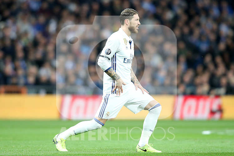 Real Madrid's Sergio Ramos injured during Champions League 2016/2017 Round of 16 1st leg match. February 15,2017. (ALTERPHOTOS/Acero)