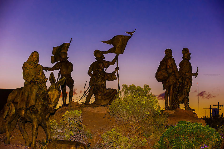 """Silhouette of """"Cuarto Centenario"""" sculpture, Albuquerque Museum, Albuquerque, New Mexico USA. Four hundred years ago, in April of 1598, Spanish explorer Juan de Oñate and 500 colonists from Mexico crossed the Rio Grande to claim the new land for the King of Spain."""
